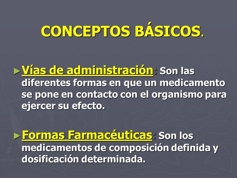 CONCEPTOS BÁSICOS. Vías de administración : Son las diferentes formas en que un medicamento se pone en contacto con el organismo para ejercer su efect