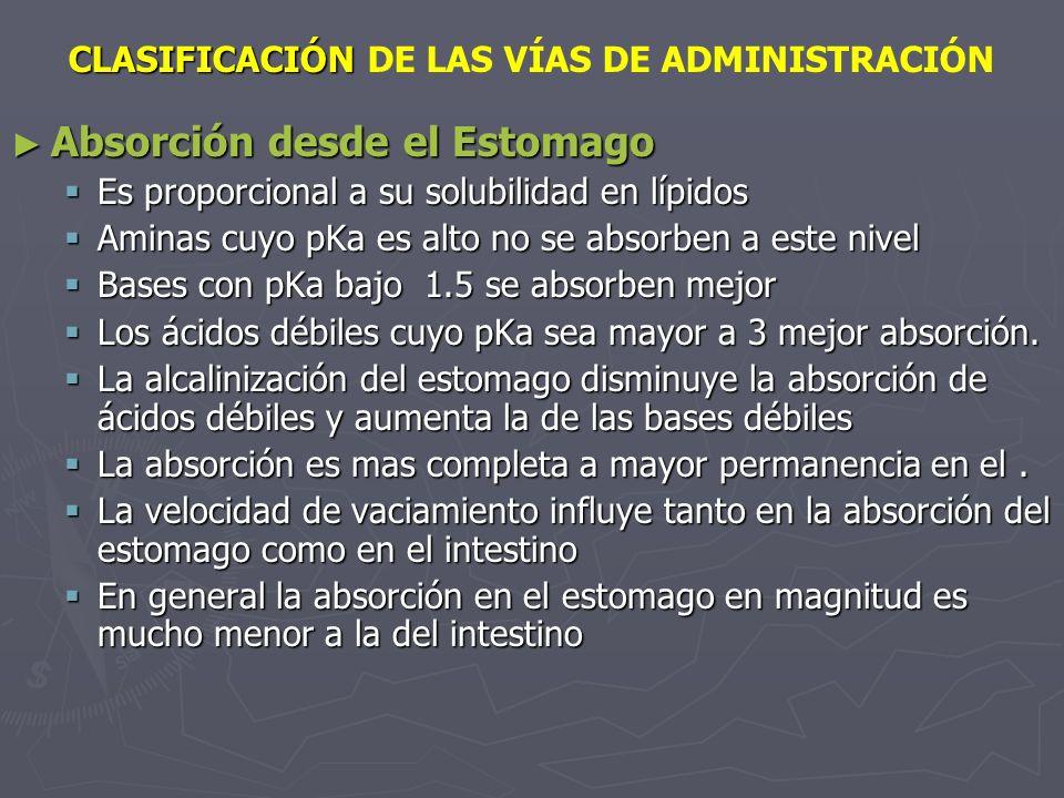 CLASIFICACIÓN CLASIFICACIÓN DE LAS VÍAS DE ADMINISTRACIÓN Absorción desde el Estomago Absorción desde el Estomago Es proporcional a su solubilidad en