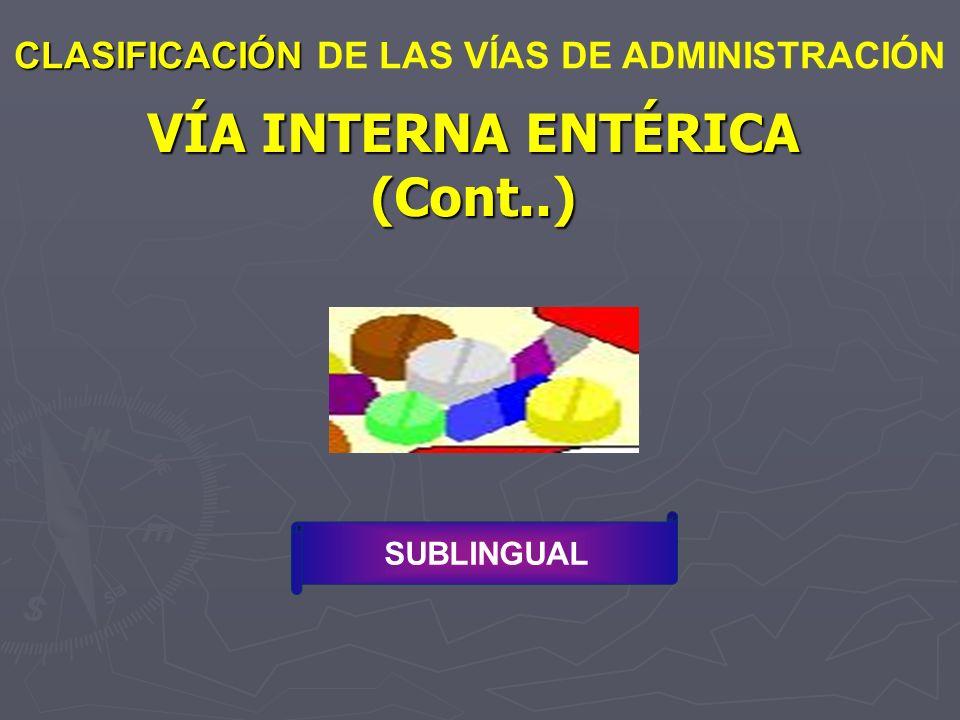 VÍA INTERNA ENTÉRICA (Cont..) CLASIFICACIÓN CLASIFICACIÓN DE LAS VÍAS DE ADMINISTRACIÓN SUBLINGUAL