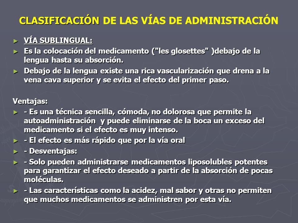 CLASIFICACIÓN CLASIFICACIÓN DE LAS VÍAS DE ADMINISTRACIÓN VÍA SUBLINGUAL: VÍA SUBLINGUAL: Es la colocación del medicamento (