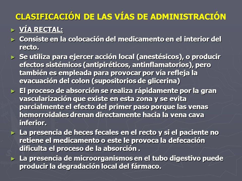 CLASIFICACIÓN CLASIFICACIÓN DE LAS VÍAS DE ADMINISTRACIÓN VÍA RECTAL: VÍA RECTAL: Consiste en la colocación del medicamento en el interior del recto.