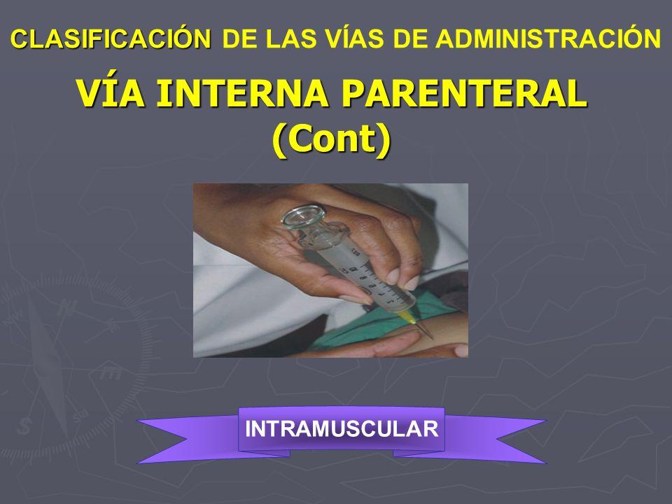 VÍA INTERNA PARENTERAL (Cont) CLASIFICACIÓN CLASIFICACIÓN DE LAS VÍAS DE ADMINISTRACIÓN INTRAMUSCULAR