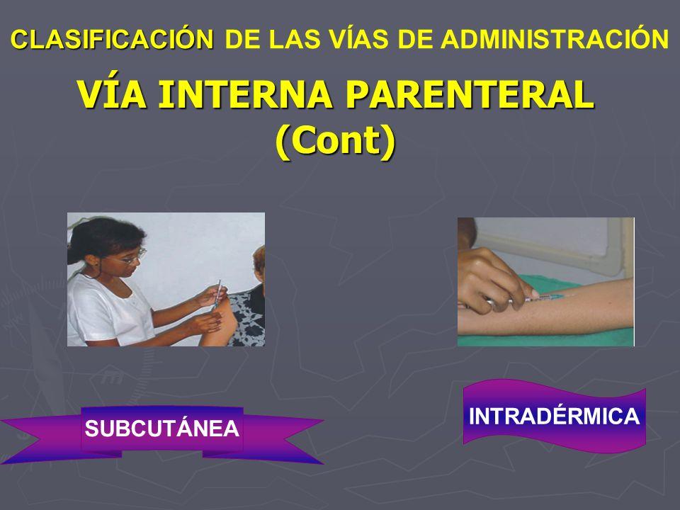 VÍA INTERNA PARENTERAL (Cont) CLASIFICACIÓN CLASIFICACIÓN DE LAS VÍAS DE ADMINISTRACIÓN SUBCUTÁNEA INTRADÉRMICA