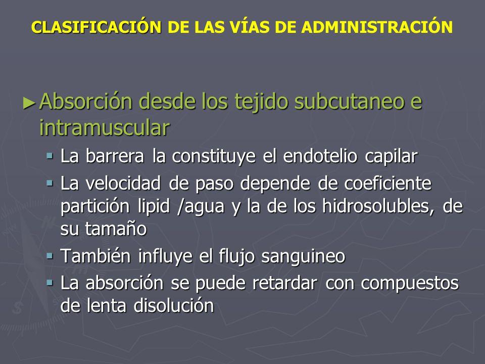 CLASIFICACIÓN CLASIFICACIÓN DE LAS VÍAS DE ADMINISTRACIÓN Absorción desde los tejido subcutaneo e intramuscular Absorción desde los tejido subcutaneo