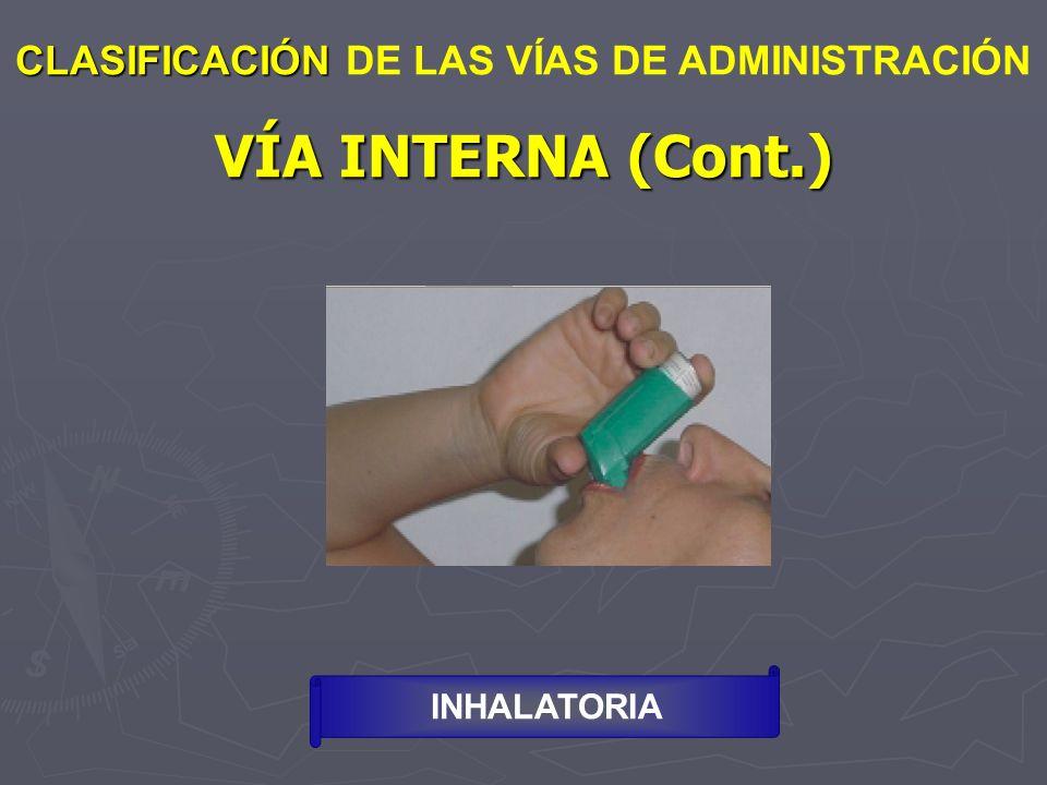 VÍA INTERNA (Cont.) CLASIFICACIÓN CLASIFICACIÓN DE LAS VÍAS DE ADMINISTRACIÓN INHALATORIA