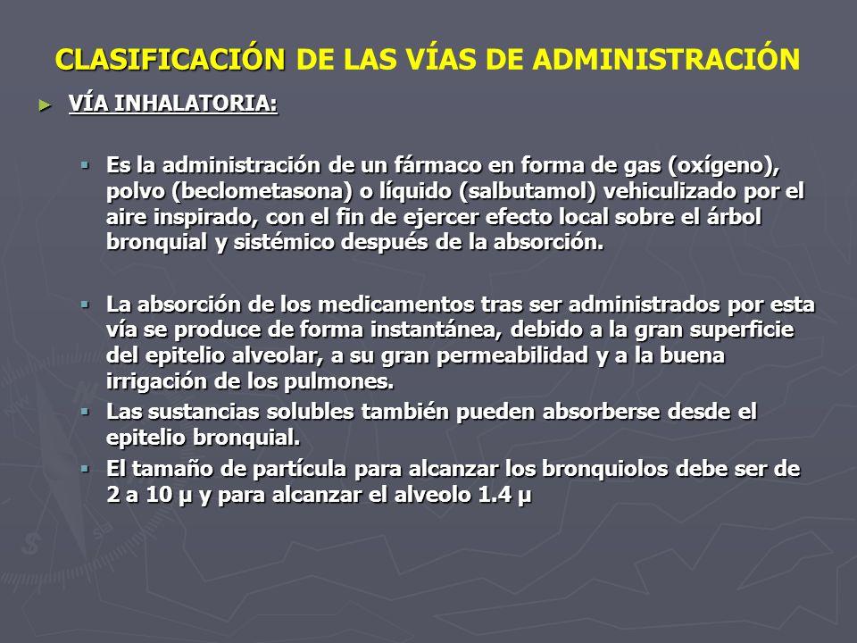 CLASIFICACIÓN CLASIFICACIÓN DE LAS VÍAS DE ADMINISTRACIÓN VÍA INHALATORIA: VÍA INHALATORIA: Es la administración de un fármaco en forma de gas (oxígen