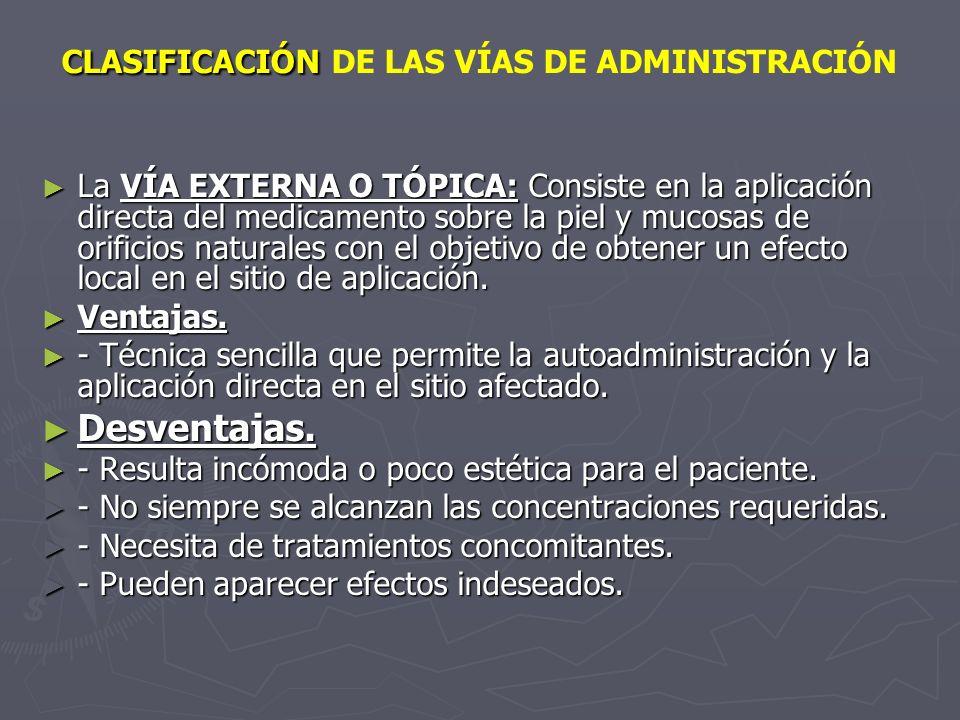 La VÍA EXTERNA O TÓPICA: Consiste en la aplicación directa del medicamento sobre la piel y mucosas de orificios naturales con el objetivo de obtener u