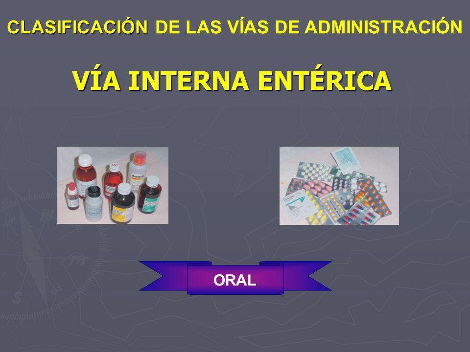 VÍA INTERNA ENTÉRICA CLASIFICACIÓN CLASIFICACIÓN DE LAS VÍAS DE ADMINISTRACIÓN ORAL