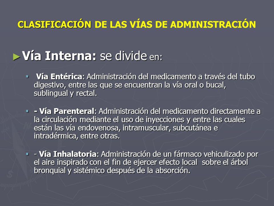 CLASIFICACIÓN CLASIFICACIÓN DE LAS VÍAS DE ADMINISTRACIÓN Vía Interna: se divide en: Vía Interna: se divide en: Vía Entérica: Administración del medic