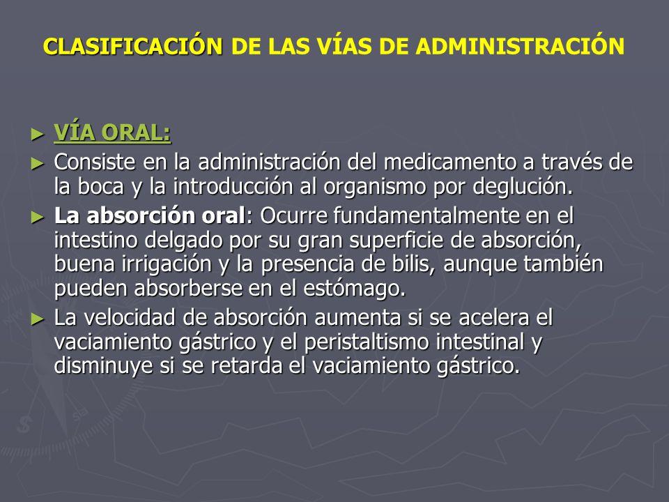 CLASIFICACIÓN CLASIFICACIÓN DE LAS VÍAS DE ADMINISTRACIÓN VÍA ORAL: VÍA ORAL: Consiste en la administración del medicamento a través de la boca y la i