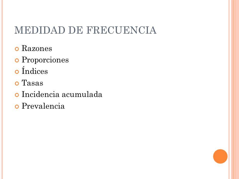 MEDIDAD DE FRECUENCIA Razones Proporciones Índices Tasas Incidencia acumulada Prevalencia