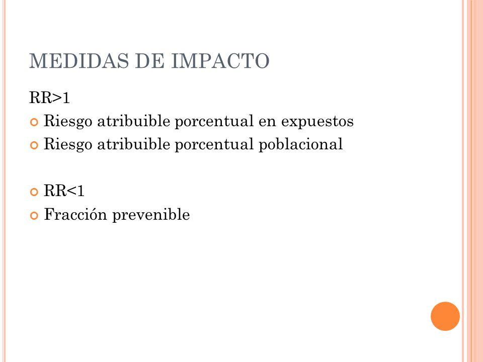 MEDIDAS DE IMPACTO RR>1 Riesgo atribuible porcentual en expuestos Riesgo atribuible porcentual poblacional RR<1 Fracción prevenible