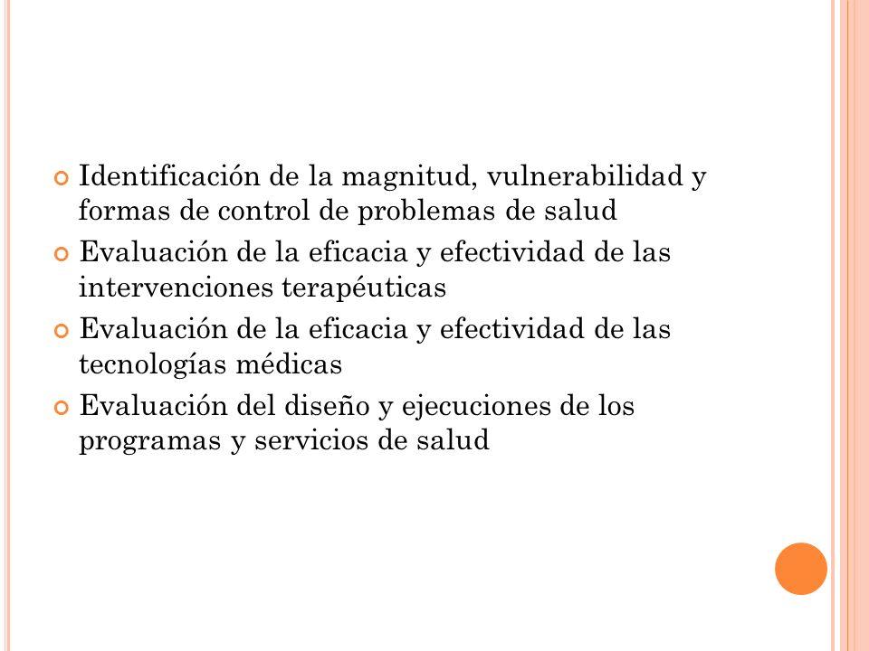 Identificación de la magnitud, vulnerabilidad y formas de control de problemas de salud Evaluación de la eficacia y efectividad de las intervenciones