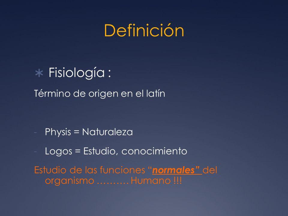Definición Fisiología : Término de origen en el latín - Physis = Naturaleza - Logos = Estudio, conocimiento Estudio de las funciones normales del orga
