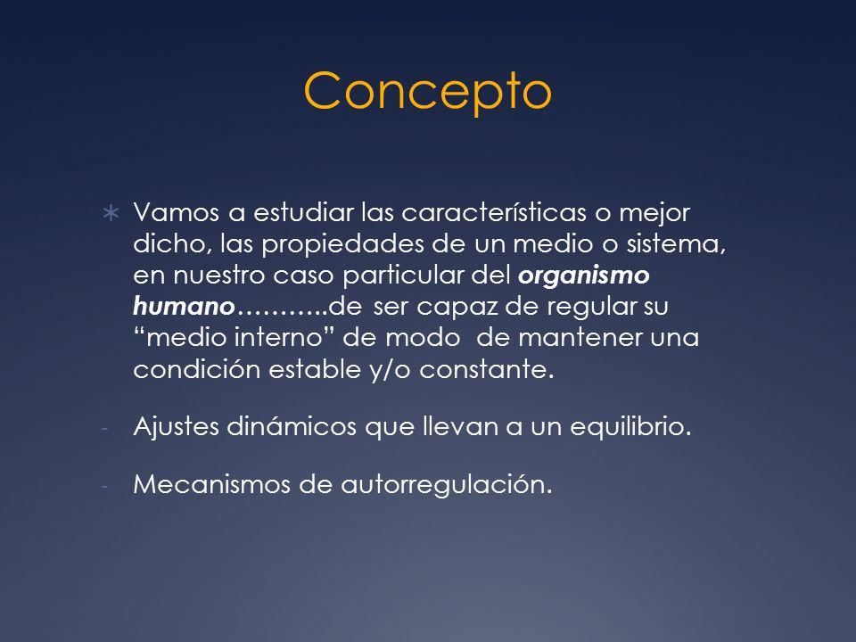 Concepto Vamos a estudiar las características o mejor dicho, las propiedades de un medio o sistema, en nuestro caso particular del organismo humano ……