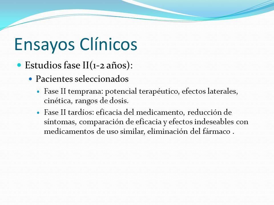 Ensayos Clínicos Estudios fase II(1-2 años): Pacientes seleccionados Fase II temprana: potencial terapéutico, efectos laterales, cinética, rangos de d
