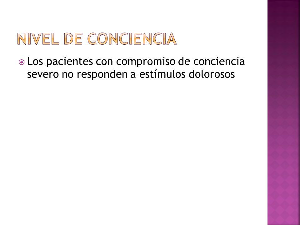 Los pacientes con compromiso de conciencia severo no responden a estímulos dolorosos