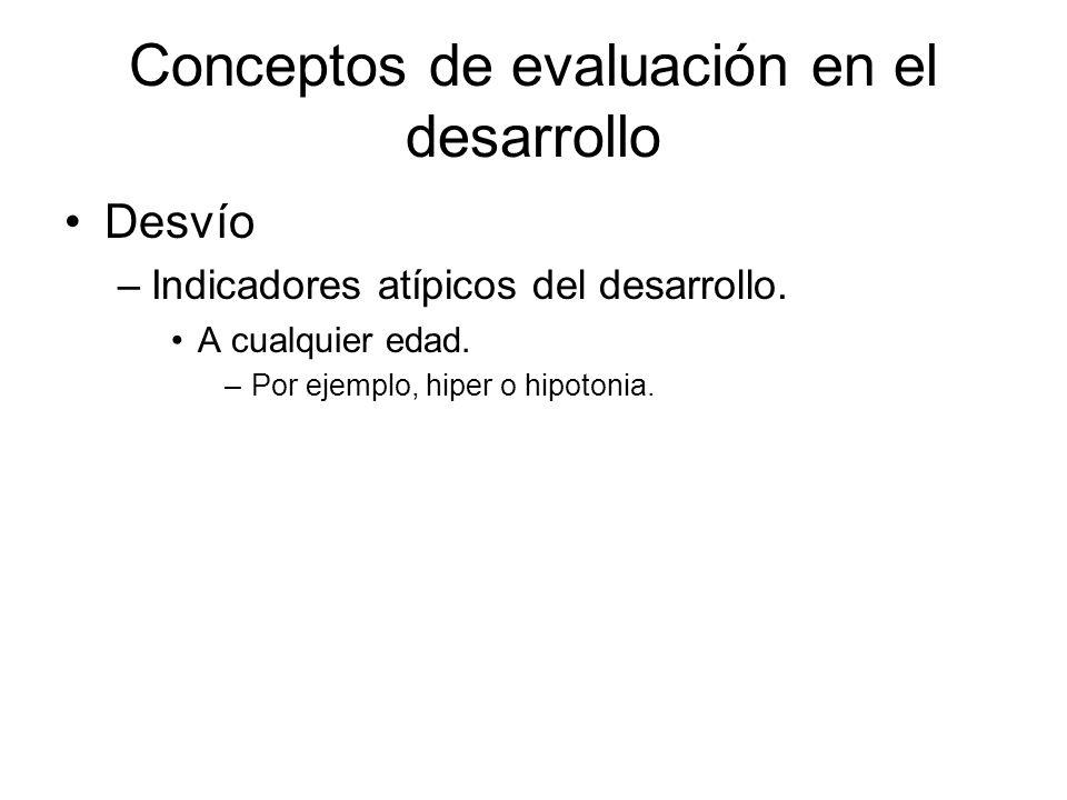 Conceptos de evaluación en el desarrollo Atraso –No alcanza el desarrollo esperado para su edad dentro de un marco normal. No necesariamente es patoló