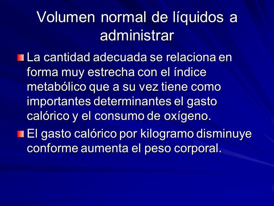 Volumen normal de líquidos a administrar La cantidad adecuada se relaciona en forma muy estrecha con el índice metabólico que a su vez tiene como impo