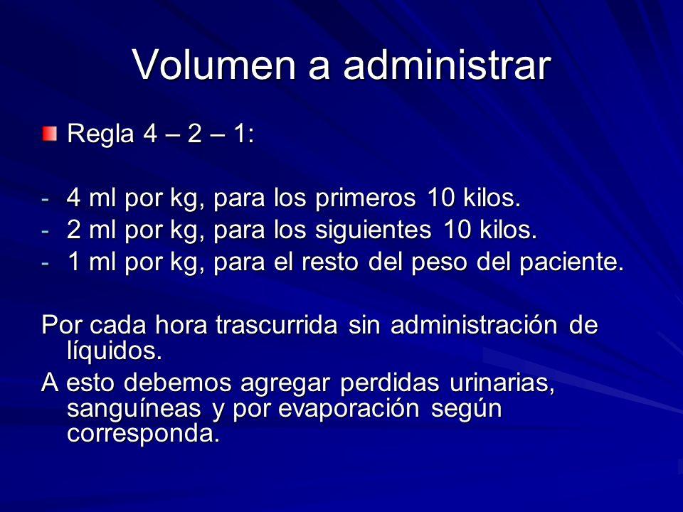 Volumen a administrar Regla 4 – 2 – 1: - 4 ml por kg, para los primeros 10 kilos. - 2 ml por kg, para los siguientes 10 kilos. - 1 ml por kg, para el