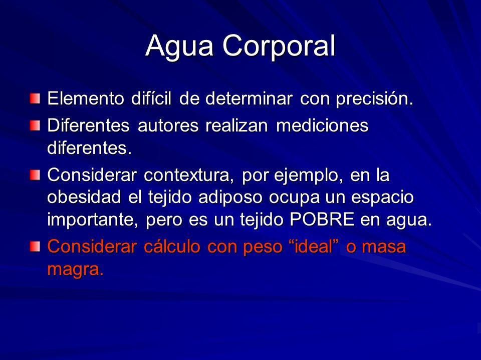 Agua Corporal Elemento difícil de determinar con precisión. Diferentes autores realizan mediciones diferentes. Considerar contextura, por ejemplo, en