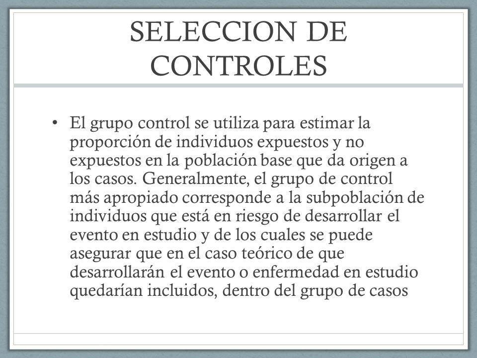 SELECCION DE CONTROLES El grupo control se utiliza para estimar la proporción de individuos expuestos y no expuestos en la población base que da origen a los casos.