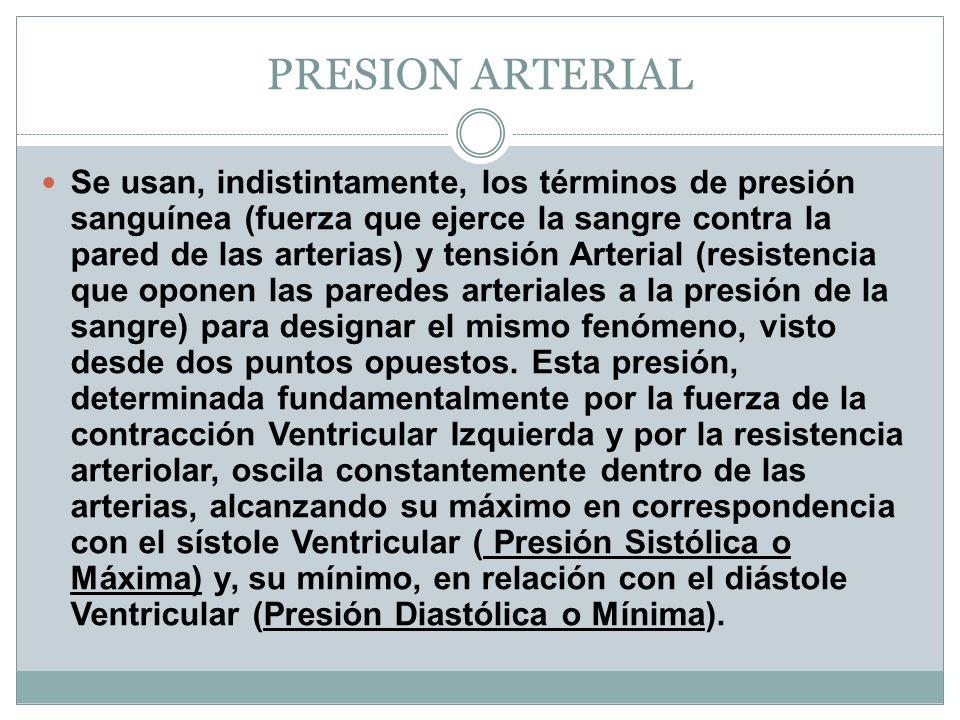 PRESION ARTERIAL Se usan, indistintamente, los términos de presión sanguínea (fuerza que ejerce la sangre contra la pared de las arterias) y tensión A