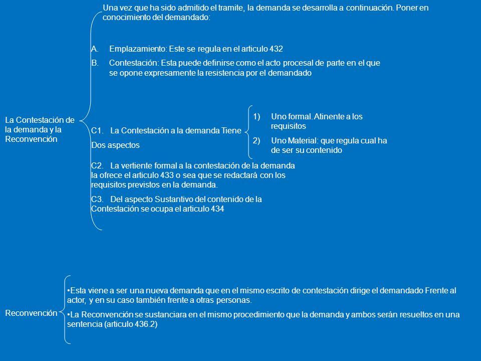 La Contestación de la demanda y la Reconvención A.Emplazamiento: Este se regula en el articulo 432 B.Contestación: Esta puede definirse como el acto p