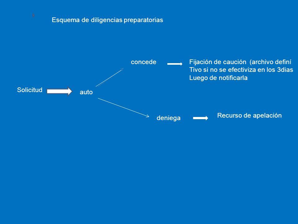 Esquema de diligencias preparatorias Solicitud auto concedeFijación de caución (archivo definí Tivo si no se efectiviza en los 3dias Luego de notifica