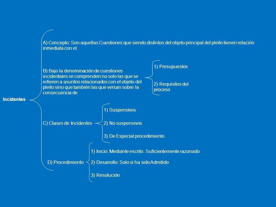 Incidentes A) Concepto: Son aquellas Cuestiones que siendo distintos del objeto principal del pleito tienen relación inmediata con el. B) Bajo la deno