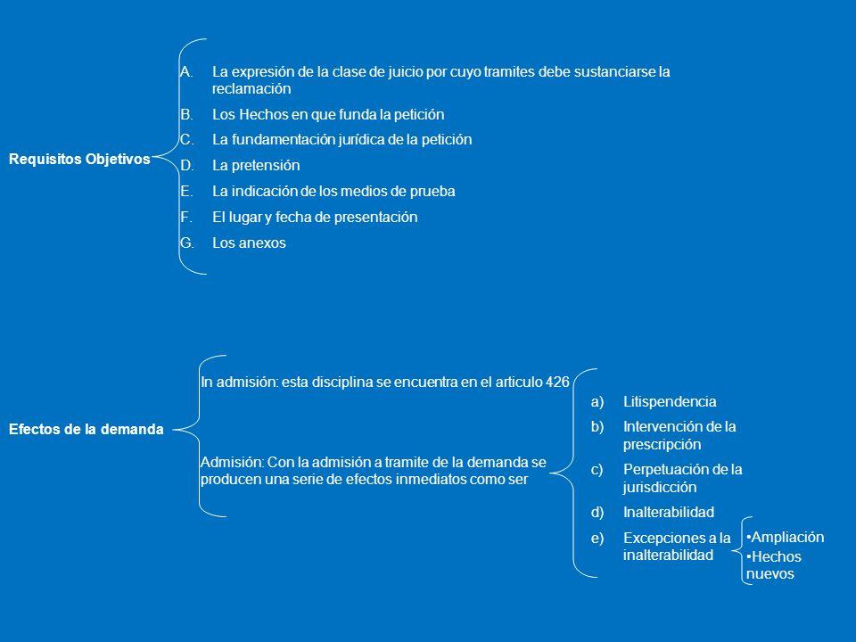 Requisitos Objetivos A.La expresión de la clase de juicio por cuyo tramites debe sustanciarse la reclamación B.Los Hechos en que funda la petición C.L