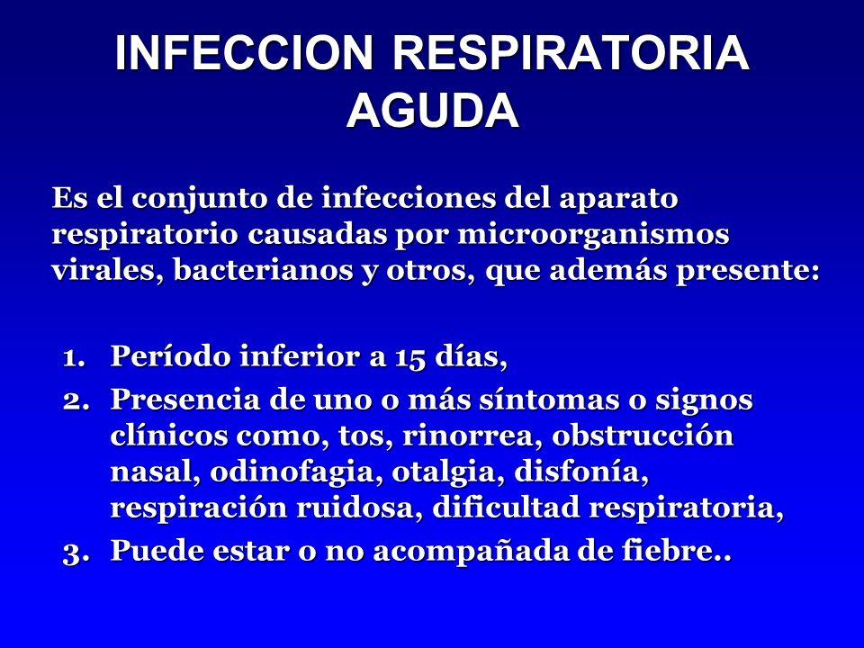 INFECCION RESPIRATORIA AGUDA Es el conjunto de infecciones del aparato respiratorio causadas por microorganismos virales, bacterianos y otros, que además presente: 1.Período inferior a 15 días, 2.Presencia de uno o más síntomas o signos clínicos como, tos, rinorrea, obstrucción nasal, odinofagia, otalgia, disfonía, respiración ruidosa, dificultad respiratoria, 3.Puede estar o no acompañada de fiebre..