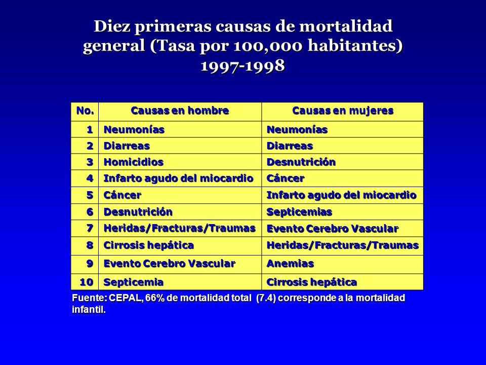 Mortalidad infantil y en niños de 1-4 años CausaInfantil46 1-4 años 2.3 Afecciones perinatales 50.5 Neumonías16.526.0 Diarrea08.824.3 Desnutrición02.310.6 Total78.660.3 Fuente: OPS, disponible en http://www.ops.org.gt/docbas/Guatemala.pdf http://www.ops.org.gt/docbas/Guatemala.pdf