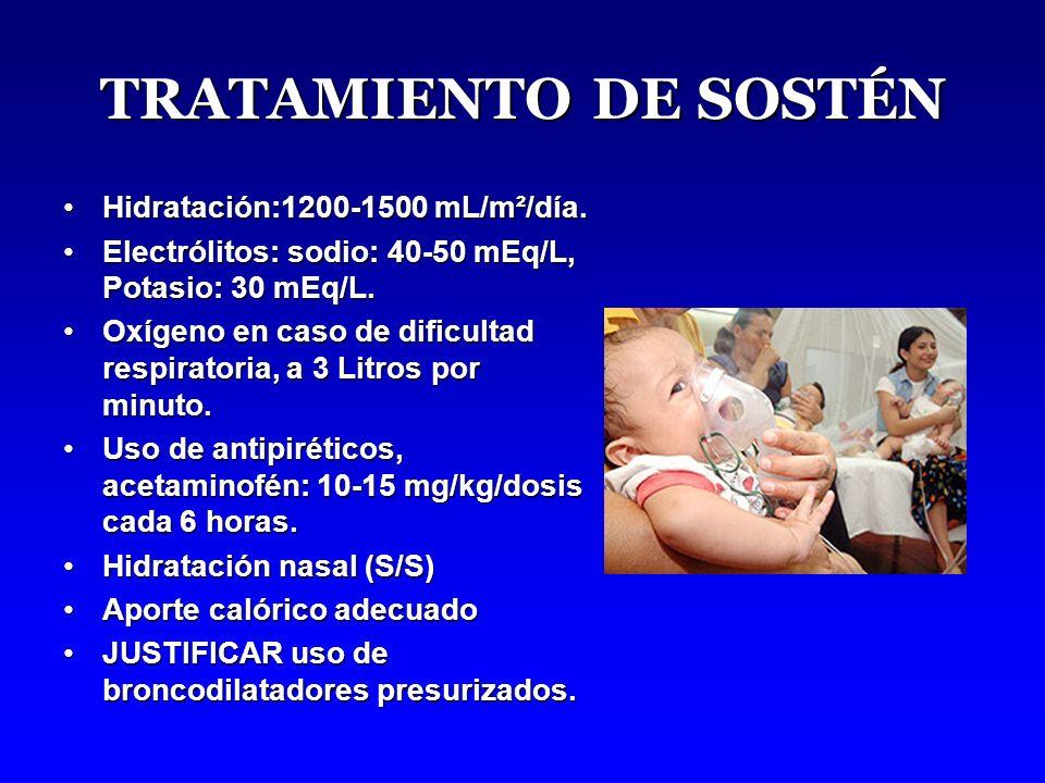 TRATAMIENTO DE SOSTÉN Hidratación:1200-1500 mL/m²/día.Hidratación:1200-1500 mL/m²/día.