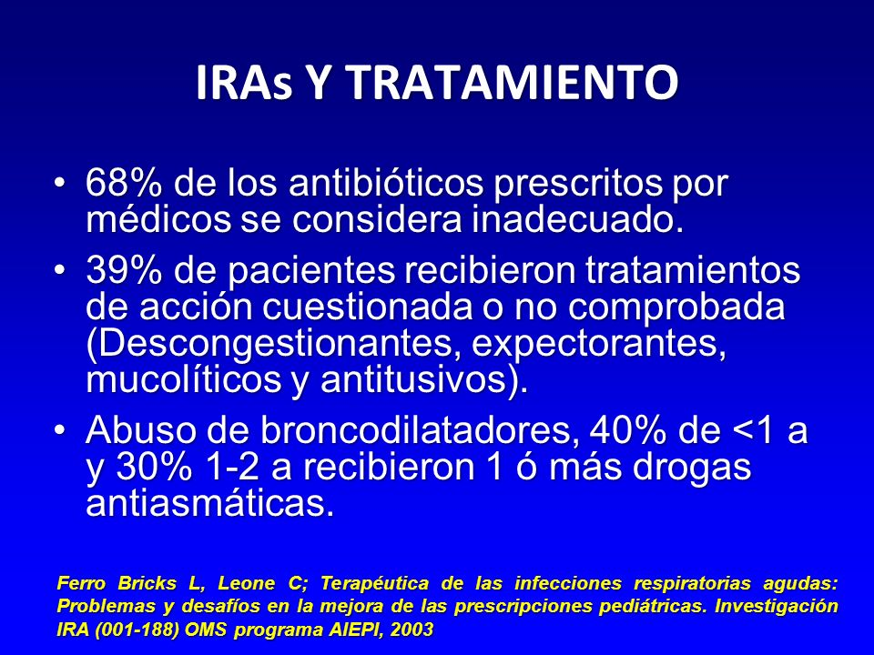 IRAs Y TRATAMIENTO 68% de los antibióticos prescritos por médicos se considera inadecuado.68% de los antibióticos prescritos por médicos se considera inadecuado.