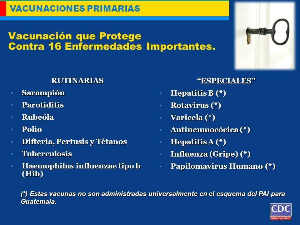 VACUNACIONES PRIMARIAS Immunization Vacunación que Protege Contra 16 Enfermedades Importantes. RUTINARIAS SarampiónSarampión ParotiditisParotiditis Ru