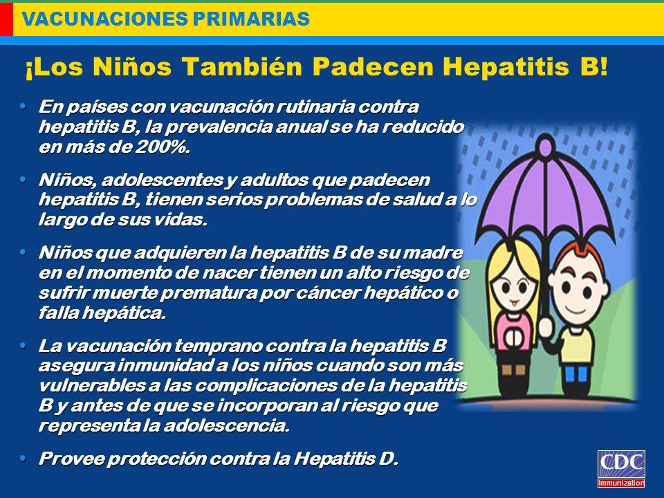 VACUNACIONES PRIMARIAS Immunization ¡Los Niños También Padecen Hepatitis B! En países con vacunación rutinaria contra hepatitis B, la prevalencia anua