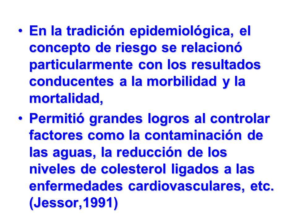 En la tradición epidemiológica, el concepto de riesgo se relacionó particularmente con los resultados conducentes a la morbilidad y la mortalidad,En l