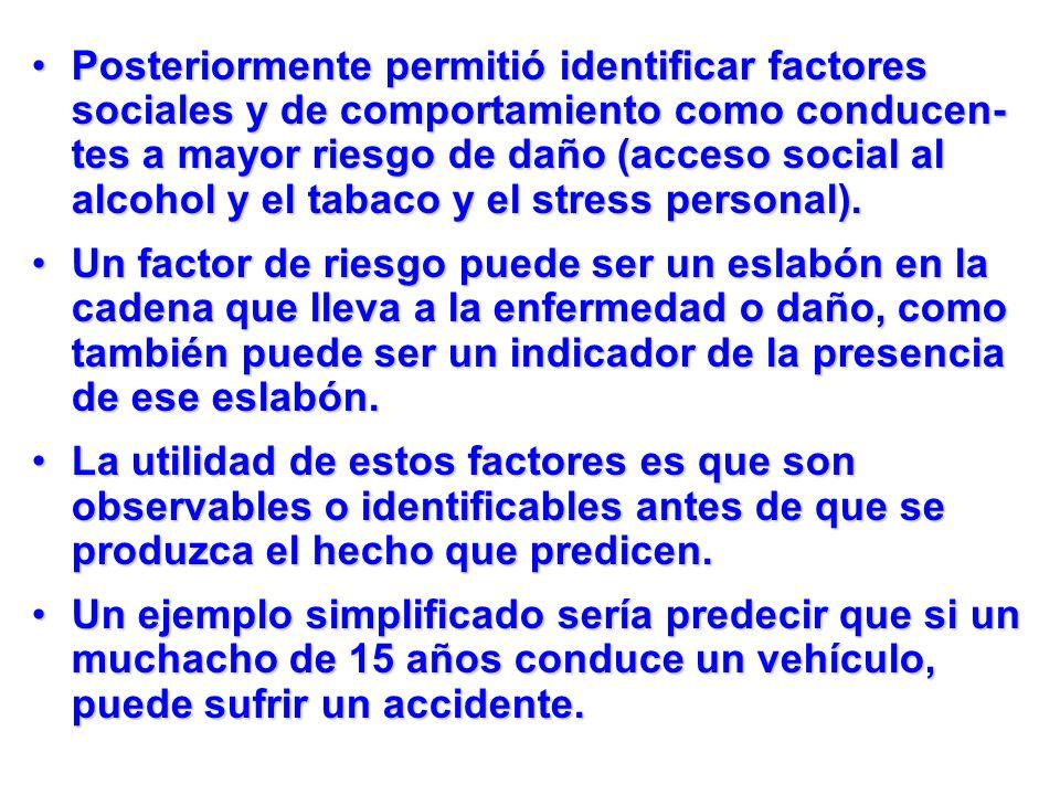 Posteriormente permitió identificar factores sociales y de comportamiento como conducen- tes a mayor riesgo de daño (acceso social al alcohol y el tab