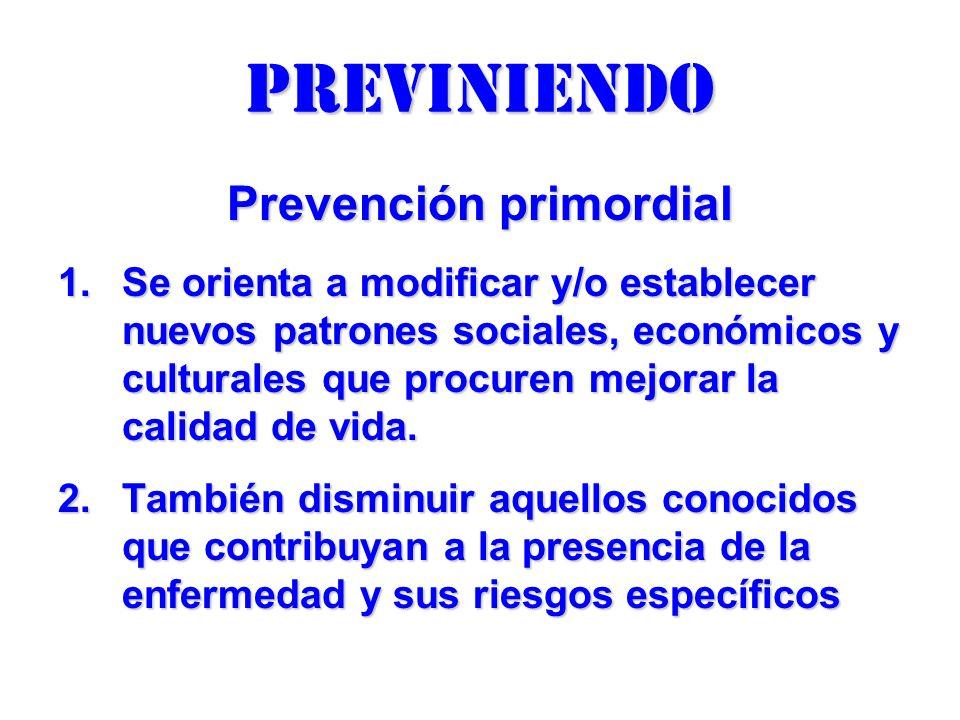 previniendo Prevención primordial 1.Se orienta a modificar y/o establecer nuevos patrones sociales, económicos y culturales que procuren mejorar la ca
