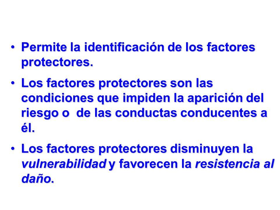 Permite la identificación de los factores protectores.Permite la identificación de los factores protectores. Los factores protectores son las condicio