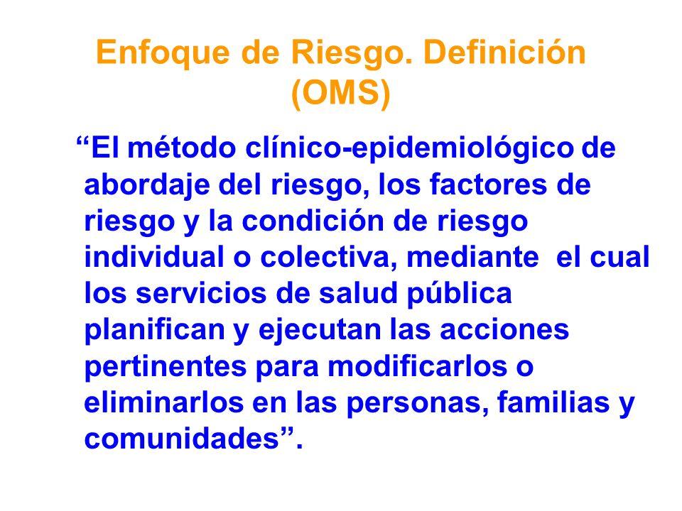 Enfoque de Riesgo. Definición (OMS) El método clínico-epidemiológico de abordaje del riesgo, los factores de riesgo y la condición de riesgo individua
