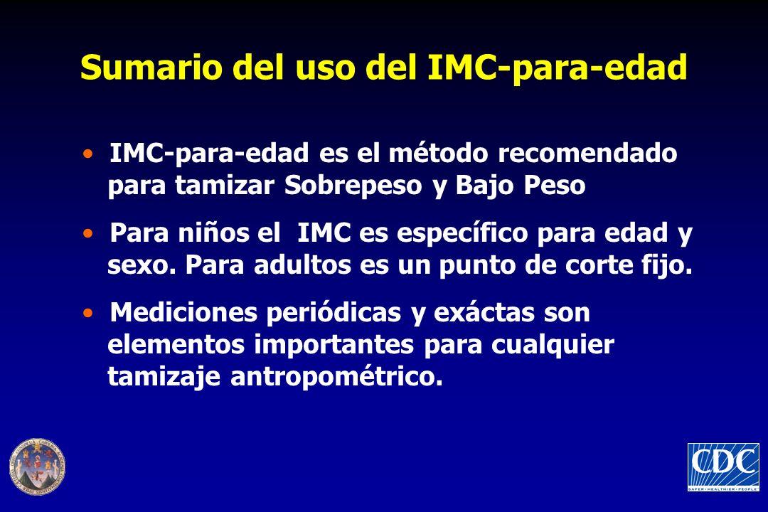 Sumario del uso del IMC-para-edad IMC-para-edad es el método recomendado para tamizar Sobrepeso y Bajo Peso Para niños el IMC es específico para edad y sexo.