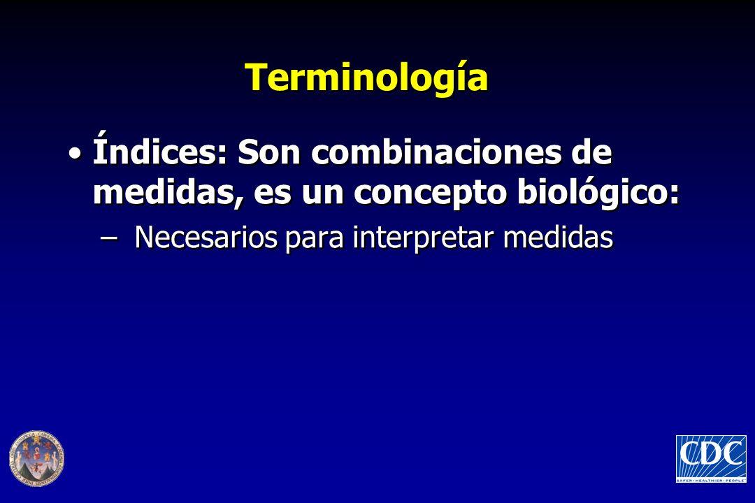 Terminología Índices: Son combinaciones de medidas, es un concepto biológico: –Necesarios para interpretar medidas Índices: Son combinaciones de medidas, es un concepto biológico: –Necesarios para interpretar medidas
