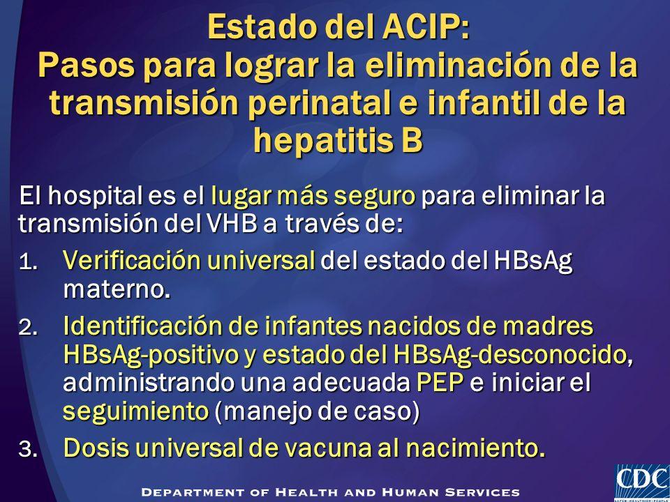 Estado del ACIP: Pasos para lograr la eliminación de la transmisión perinatal e infantil de la hepatitis B El hospital es el lugar más seguro para eli
