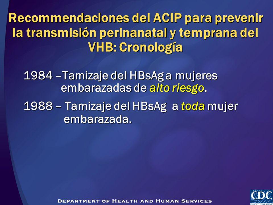 Recommendaciones del ACIP para prevenir la transmisión perinanatal y temprana del VHB: Cronología 1984 –Tamizaje del HBsAg a mujeres embarazadas de al