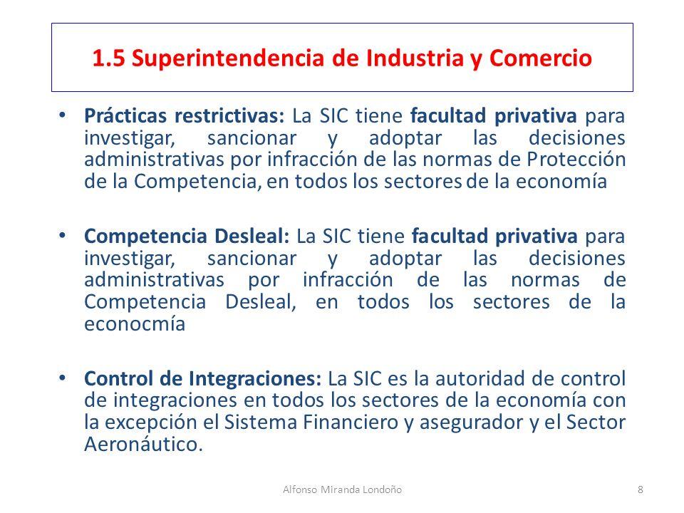 Alfonso Miranda Londoño8 1.5 Superintendencia de Industria y Comercio Prácticas restrictivas: La SIC tiene facultad privativa para investigar, sancion