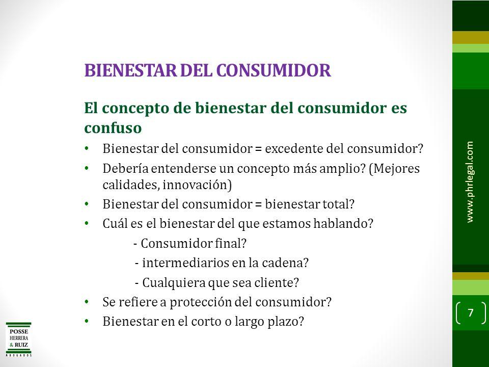 BIENESTAR DEL CONSUMIDOR Es el bienestar del consumidor el fin último de una política de protección de la competencia o converge con conjunto de finalidades.