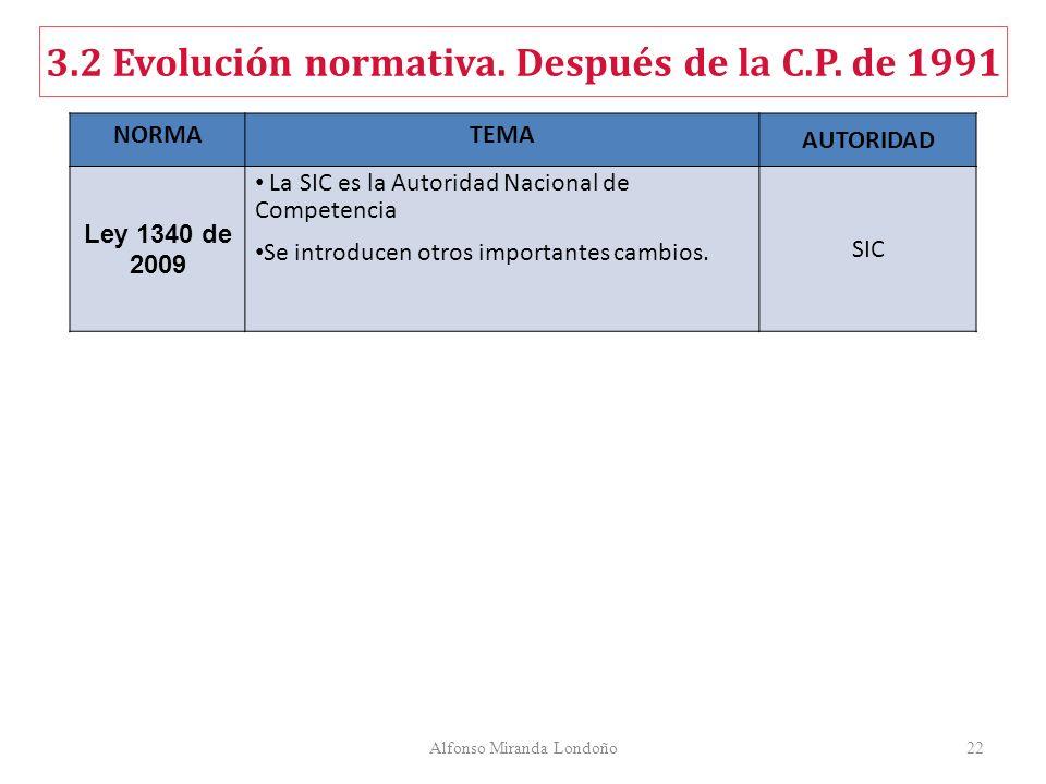 Alfonso Miranda Londoño22 NORMATEMA AUTORIDAD Ley 1340 de 2009 La SIC es la Autoridad Nacional de Competencia Se introducen otros importantes cambios.
