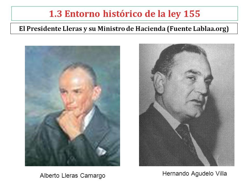 1.3 Entorno histórico de la ley 155 El Presidente Lleras y su Ministro de Hacienda (Fuente Lablaa.org) Hernando Agudelo Villa Alberto Lleras Camargo